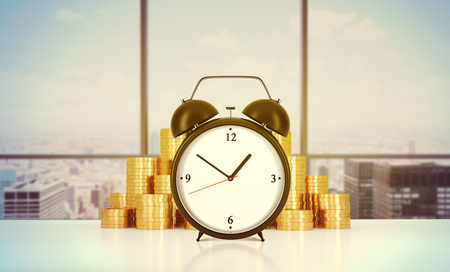 billing: An alarm clock and golden coins are on the table in a modern panoramic office in New York city. A concept of time management or billing the services in consulting companies. 3D rendering. Toned image.