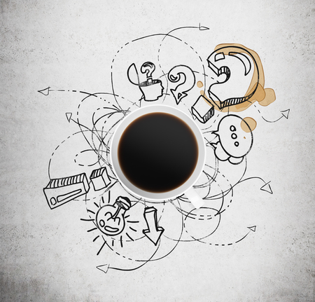 questions: Top view of a cup of coffee and black business icons with question mark on the concrete background. The concept of brainstorm process.
