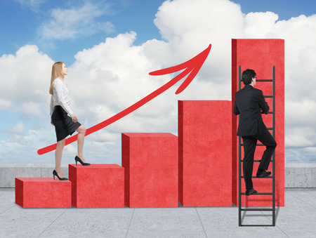 heights job: Stairs as a huge red bar chart are on the roof. A woman is going up to the stairs, while a man has discovered a shortcut hot to reach the highest point. A growing red arrow.