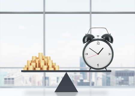 streamlining: A balance between time and money. On the one side is money, on the other one is an alarm clock. The concept of time is money. An office with New York panoramic view. 3D rendering. Stock Photo