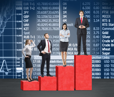 corporate ladder: Stairs as a huge red bar chart. Business people are standing on each step as a concept of corporate ladder in financial market. Indices and currency data on the background.