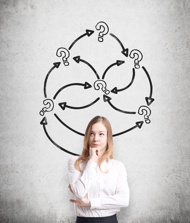 incertitude: A thoughtful young business lady is holding her chin. Arrows with question marks are drawn on the concrete wall. A concept of problem solving. Stock Photo