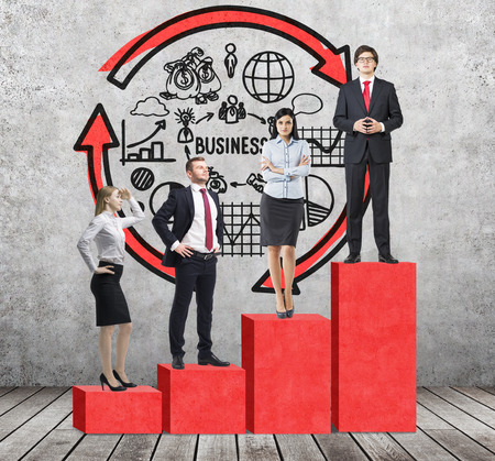 corporate ladder: Stairs as a huge red bar chart are in the room with concrete floor and contemporary wall. Business people are standing on each step as a concept of corporate ladder. Business diagram is on the wall. Stock Photo