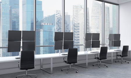 traders: A modern traders workplaces in a bright modern open space office. White tables equipped with modern traders stations and black chairs. Singapore in the panoramic windows. 3D rendering.
