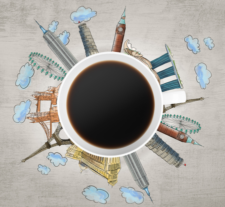 famous cities: Top view of a coffee cup and drawn colourful sketches of the most famous cities in the world. The concept of travelling. London, Singapore, Pisa, Paris. Concrete background. 3D rendering.