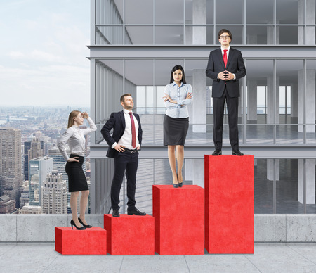 corporate ladder: Stairs as a huge red bar chart are on the roof. Business people are standing on each step as a concept of corporate ladder. A panoramic skyscraper on the background. New York panorama.