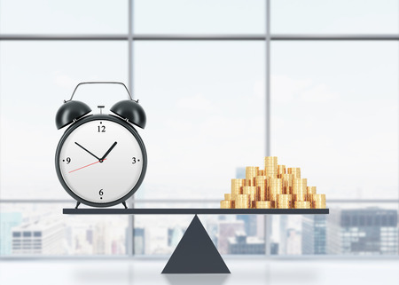viability: A balance between time and money. On the one side is money, on the other one is an alarm clock. The concept of time is money. An office with New York panoramic view. 3D rendering. Stock Photo