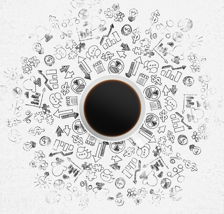 taza: Vista superior de una taza de caf� y una gran cantidad de iconos de negocios y gr�ficos sobre la superficie blanca. Foto de archivo