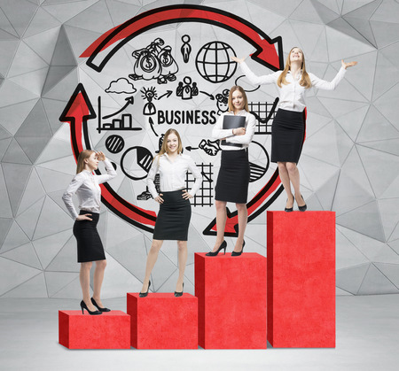 corporate ladder: Stairs as a huge red bar chart are in the room with concrete floor and contemporary wall. Business women are standing on each step as a concept of corporate ladder. Business diagram is on the wall.