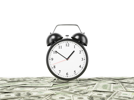 An alarm clock is settled on the surface which is covered by dollar notes. White background. 3D rendering. Stock Photo