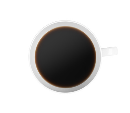 addictive drinking: Top view of a cup of coffee. Isolated on white background. 3D rendering. Stock Photo