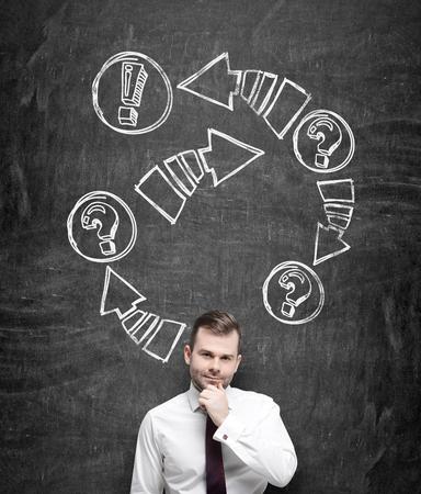 flechas: Un hombre de negocios reflexivo es la celebraci�n de la barbilla. Dibujado flechas con signos de exclamaci�n y de interrogaci�n en la pizarra negro detr�s de la persona.