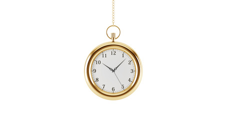 streamlining: Gold pocket watch. Isolated on white background. 3D rendering.