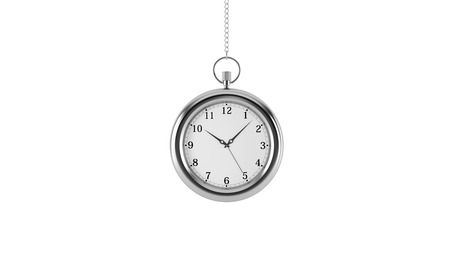 streamlining: Silver pocket watch. Isolated on white background. 3D rendering.