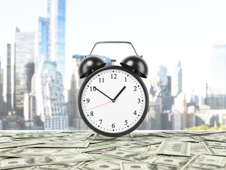 An alarm clock is settled on the surface which is covered by dollar notes. New York panorama on background. 3D rendering.
