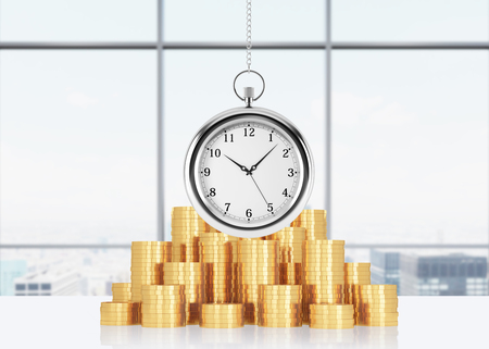 streamlining: A composition of golden coins and hanging on the chain pocket watch. New York panoramic office on background. A concept of time is money or a value of time in business. 3D rendering. Stock Photo