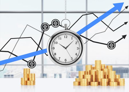 streamlining: A composition of golden coins and hanging on the chain pocket watch. New York panoramic office and financial line charts are on background. A concept of time is money or a value of time in business. 3D rendering. Stock Photo