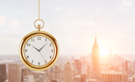 timekeeping: A model of pocket watch which is hanging on the chain. A concept of a value of time in business. A sunset panoramic New York view. 3D rendering. Toned image.