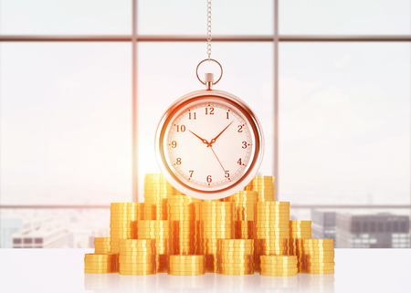 streamlining: A composition of golden coins and hanging on the chain pocket watch. Sunset New York panoramic view. A concept of time is money or a value of time in business. Toned image. 3D rendering.