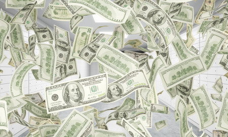 safekeeping: Dollar notes are falling down from ceiling. A bright space with safe deposit boxes are on the background. 3D rendering.