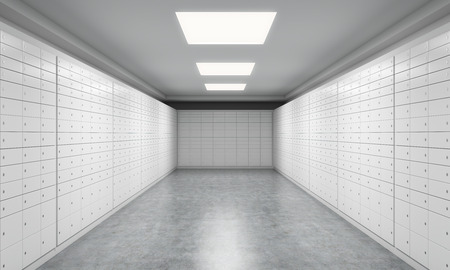A bright space with safe deposit boxes. A concept of storing of important documents or valuables in a safe and secure environment. 3D rendering.