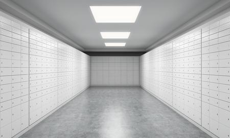 caja fuerte: Un espacio luminoso con cajas de seguridad. Un concepto de almacenamiento de documentos u objetos de valor importantes en un entorno seguro y protegido. representaci�n 3D.