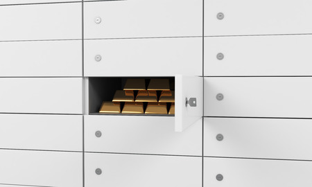 safekeeping: White safe deposit boxes in a bank. There are gold bullions inside of a one box. A concept of storing of important documents or valuables in a safe and secure environment. 3D rendering.