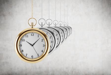 oscillation: Pocket watches in a chain are in the line. Concrete background. 3D rendering