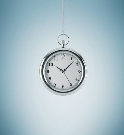 streamlining: A model of pocket watch which is hanging on the chain. A concept of a value of time in business. Light blue background. 3D rendering.