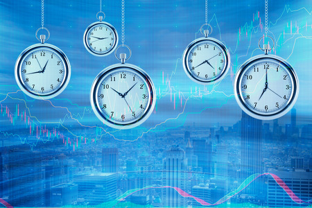 streamlining: Four models of pocket watches are hovering in the air over financial graphs background. A concept of a value of time in financial markets. Forex chart. New York background. 3D rendering.