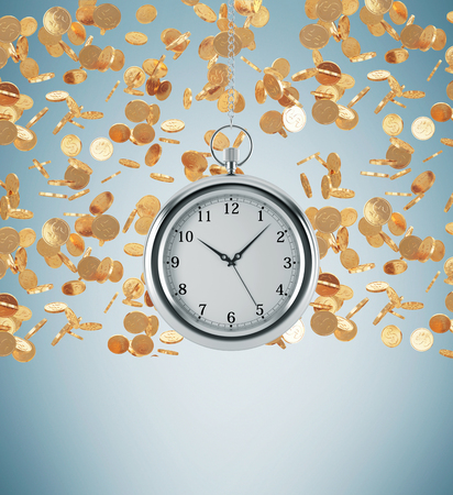 streamlining: A model of pocket watch which is hanging on the chain. Golden coins are falling down from the ceiling. A concept of a value of time in business. Light blue background. 3D rendering.
