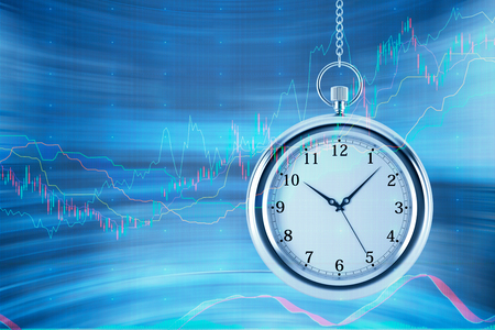 streamlining: Four models of pocket watch are hovering in the air over financial graphs background. A concept of a value of time in financial markets. Forex chart. 3D rendering. Stock Photo