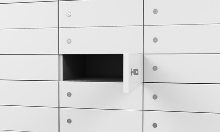 valuables: White safe deposit boxes in a bank, one box is open. A concept of storing of important documents or valuables in a safe and secure environment. 3D rendering.