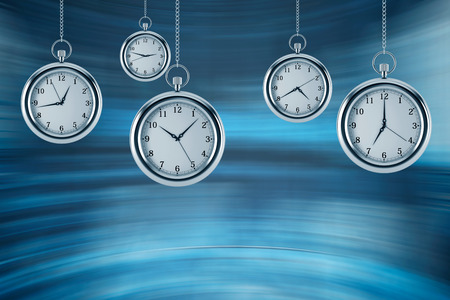 Four models of pocket watches are hovering in the air. A concept of a value of time in business. A contemporary blue background. 3D rendering.