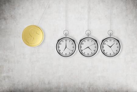 Une montre de poche comme une oscillation du pendule. Une pièce d'un dollar or comme une première pièce d'un pendule. fond en béton. rendu 3D. Le temps est argent concept.