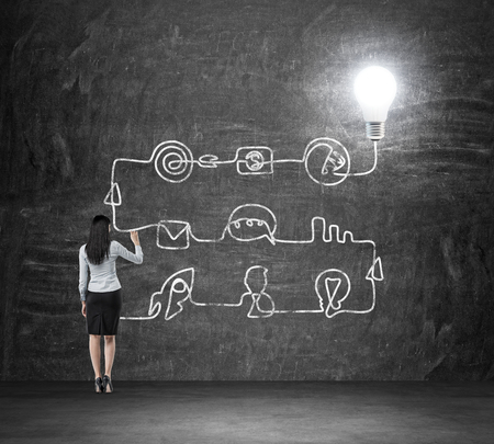 business leader: A rear view of a brunette lady who is drawing a process of business ideas development. A flowchart is drawn on the black chalkboard with different stages of development. A concept of a brainstorm. Stock Photo