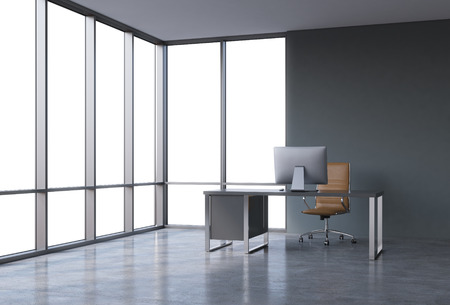 company premises: A workplace in a modern corner panoramic office with copy space in the windows. A black desk with a modern computer and brown leather chair. A concept of consulting services. 3D rendering. Stock Photo