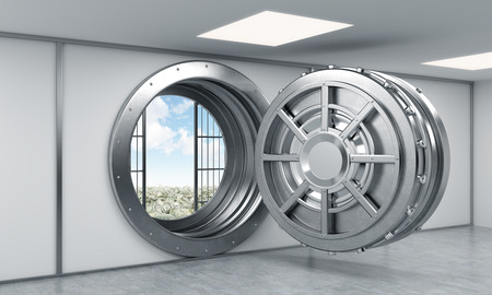 robbing: 3D rendering of a big open round steel safe in a bank depository, a concept of dream and prosperity, side view Stock Photo