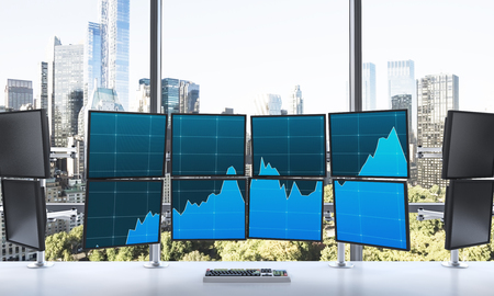 switched: 3D rendering of office with switched on monitors, processing data for trading, window at the background, new york