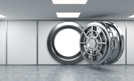 depository: 3D rendering of a big open round metal safe in a bank depository with bright light shining inside, a concept of bright future, front view Stock Photo