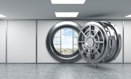 lockbox: 3D rendering of a big open round metal safe in a bank depository, front view, a concept of opportunity and American dream