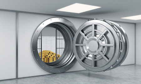 robbing: 3D rendering of a big open round metal safe in a bank depository with locked lock-boxes and  a pyramid of gold bars, a concept of affluence