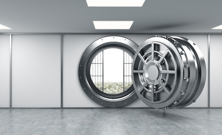 depository: 3D rendering of a big open round metal safe in a bank depository with lock-boxes and money on the floor behind bars, a concept of saving wealth