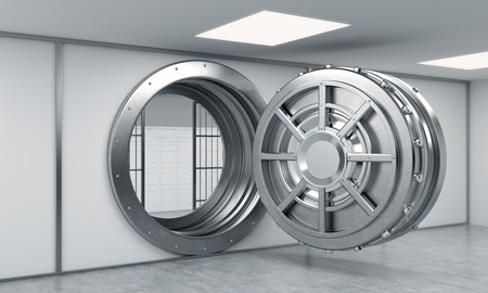 behind: 3D rendering of a big open round metal safe with locked lock-boxes behind bars in a bank depository, a concept of security Stock Photo