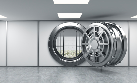 lockbox: 3D rendering of a big open round metal safe in a bank depository with lock-boxes and money on the floor behind bars, a concept of saving money