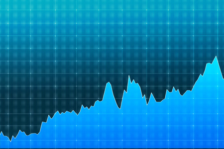 wallstreet: blue graph demonstrating growth, fluctuations, concept of analysis Stock Photo