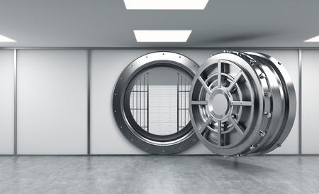 3D rendering of a big open round metal safe with lock-boxes behind bars in a bank depository, front view, copy space, concept of safety
