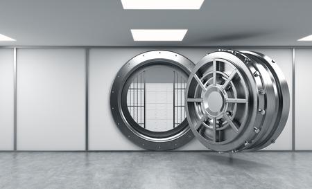 cash money: Representación 3D de un gran redondo de metal abrir la caja fuerte con el bloqueo de las cajas tras las rejas en un depósito bancario, de frente, copia espacio, el concepto de seguridad