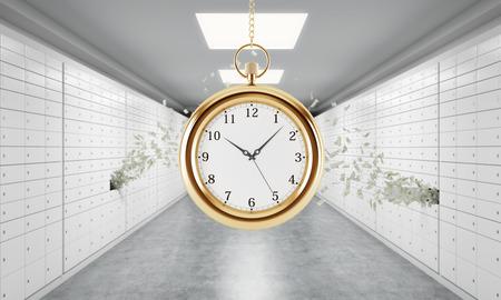 caja fuerte: Un reloj de bolsillo de oro en la cadena en una habitaci�n con cajas de seguridad y notas en d�lares est�n volando hacia fuera de una caja. Un concepto de almacenamiento de objetos de valor en un entorno seguro y protegido. representaci�n 3D. Foto de archivo
