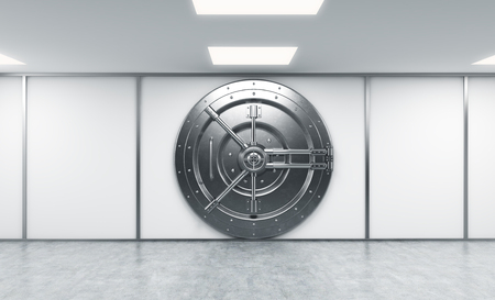 depository: 3D rendering of a big locked round metal safe in a bank depository,  a concept of security,  front view Stock Photo